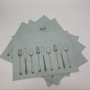 Blue Striped Fork, Knife, Spoon Print Placemats, 6